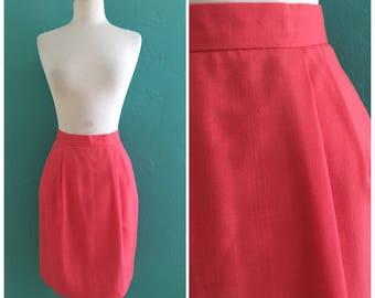 80's coral high waist skirt with pockets ~ small medium