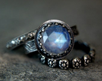 Antiqued Silver Rainbow Moonstone Stacking Set, Blue Moonstone Alternative Wedding Ring
