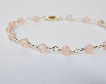 Rose Quartz Bracelet Small - Sterling Silver Beadwork Bracelet  Rosary Style Chain Beaded Bracelet Blush Pink Beads