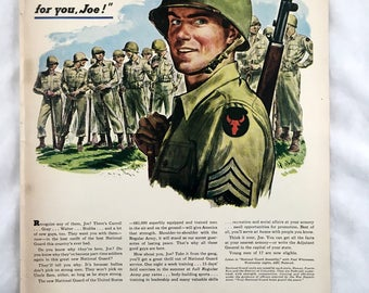 1947 National Guard Ad. Military Advertisement. Soldier. United States National Guard. Army, Marines, Air Force, Navy, Back- Hunter Whiskey