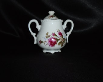 Vintage Mid Century Moss Rose Covered Sugar Bowl Mint Replacement Piece