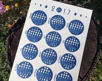 Letterpress Calendar, 2017 Lunar Calendar on Handmade Paper, Wall Calendar - Mint