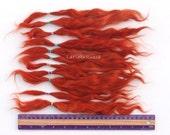 Doll Hair Combed Mohair locks rust / dark orange extra long 8-11 in for reroot/ Reborn/ BJD, Art Dolls, blythe, pullip, minifee