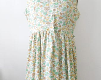 Vintage Cotton Day Dress • Vintage Everyday Sleeveless Dress • Green Brown Floral Cotton Dress