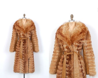 Vintage 1970s Coat / 70s Genuine Fur and Leather Belted Coat / Brown (S M)