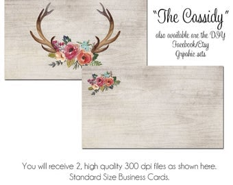 Etsy your place to buy and sell all things handmade deer antler business card diy blank business card template the cassidy watercolor business reheart Gallery