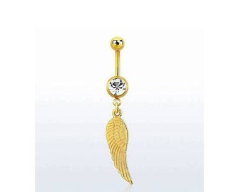 Belly Bar with Crystal, Belly button ring with wing, Gold Plated button rings, Belly piercing, Body jewellery, bellybutton piercing