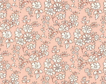 Capel, Floral Pink, Liberty Tana Lawn Fabric, Liberty of London, Liberty Japan, Cotton Flower Scrap Fabric, Patchwork Quilt fabric, kt3055s
