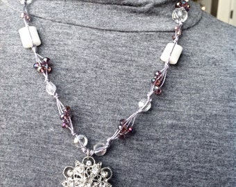 Hand Tied Purple and White Crystal Necklace
