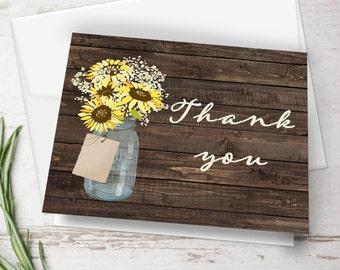 Mason Jar Thank You Card, Wedding Thank You Card, Printable Thank You Card, Sunflower Thank You Card