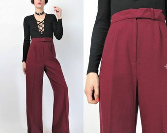 1970s Wide Leg Pants High Waisted Pants Cranberry Wine Dark Red Pants Womens Wool Trousers 70s Bell Bottoms Work Pleated Pants (S) E2087