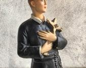 1950s chalkware statue of Saint Gerard Majella skull and cross, vintage St. Gerard figurine, Patron Saint expectant mothers pregnant women
