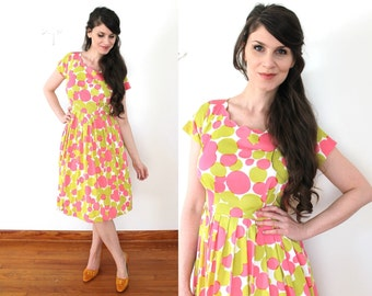 50s Dress / 1950s Pink and Chartreuse Bubble Polka Dot  Dress
