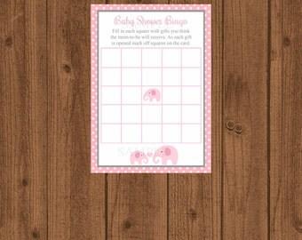 Baby Bingo Elephant Baby Shower, Baby BINGO, Girl Baby Shower, Instant Download, Pink Grey, Baby Shower Game