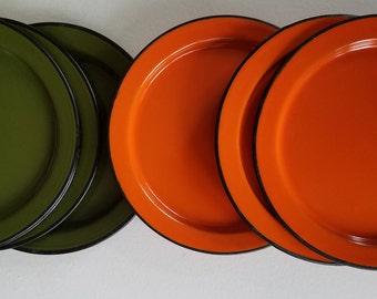 Set of 7 Japanese Green & Orange Enamel Plates