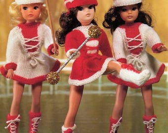 Download PDF Knitting Pattern Majorettes outfits for Siny doll/Tammy/Tressy etc 4 ply yarn