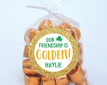 St. Patrick's Day Stickers - Our Friendship is Golden - Sheet of 12 or 24