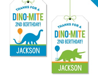 Dinosaur Party - Personalized DIY printable party favor tags