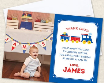 Train Photo Thank You Cards - Professionally printed *or* DIY printable