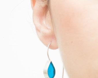 Translucent Turquoise Tear Drop // Silver Stud Earrings // Elegant Minimalist Long