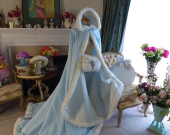 Frozen Bridal Cape Powder Blue / Ivory Satin 67 inch with Fur Trim Wedding Cloak Handmade in USA