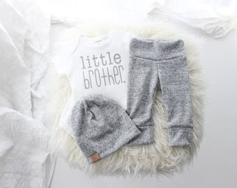 Cozy brushed grey 3 piece little brother outfit | cute little brother | baby boy outfit | bringing home baby outfit | it's a boy | cute baby