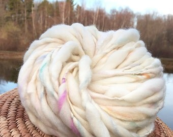 Handspun sparkly thick and thin yarn, handmade in super chunky merino wool, silk and gold sparkles - 38 yards, 2.5 ounces and 72 grams