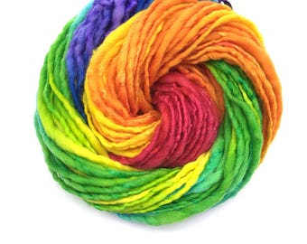 Silk and merino handspun rainbow yarn, bulky/chunky - 60 yards, 2.15 ounces and 61 grams