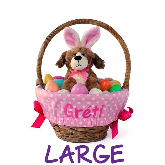 Large Personalized Easter Basket Liner for oversized baskets, Big Pink Dots, Basket not included, Jumbo, Monogrammed Easter basket liner