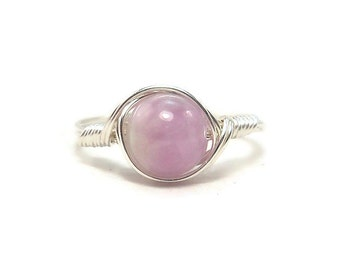 LG Purple Kunzite Argentium Sterling Silver Ring Wire Wrapped Ring