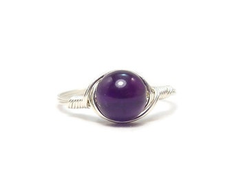LG Amethyst Gemstone Ring Argentium Sterling Silver Wire Wrapped Ring