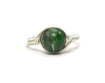 Green Diopsite Wire Wrapped Gemstone Ring