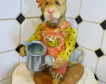 Paper Mache Clay Garden Mouse by Maure Bausch