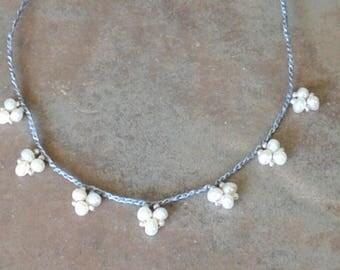 Pearl crochet necklace lace designed freshwater pearls crocheted bib necklace boho crochet