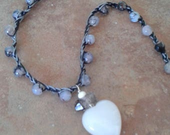 White heart beaded crochet necklace, boho crochet,  Herkimer Diamond,  Quartz,  Agate