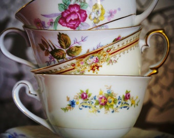 Vintage Tea Cups and Saucers for Tea Parties, Bridal Luncheons, Showers, Hostess Gift, Bridesmaid Gift