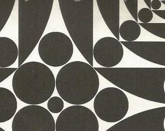 vintage 70s circular optical illusion poster art print plate black white retro home decor mod geometric picture wall circle round ball 47/48
