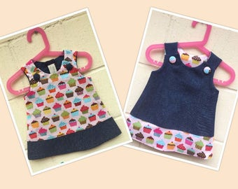 Reversible Cupcake Confections Girl Toddler Cotton Dress Jumper Pinafore | Girl Pinafore Dress | Toddler Revers Dress