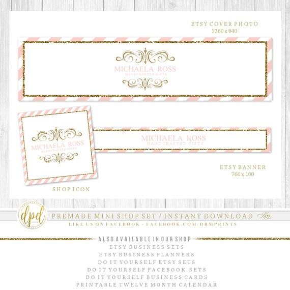 Premade DIY Etsy Mini Set | Blank Etsy Set | Premade Shop Set | Etsy Shop Graphics | Etsy Business Set | INSTANT DOWNLOAD-AA111