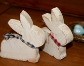 Wooden Bunny Pair Primitive Easter Decor