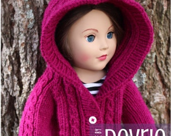 DIGITAL Download, 18 inch doll clothes, KNITTING PATTERN, Knit doll clothes, knit doll sweater, Hooded Cable Sweater