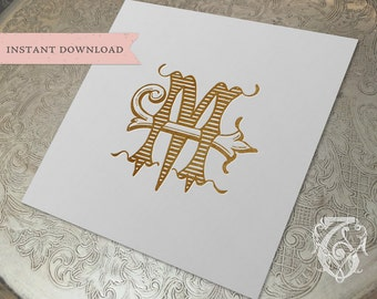 Vintage Wedding Monogram JM MJ Digital Download M J