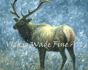 Elk Art Print, wildlife prints, elk painting, elk print, father's day gift, wildlife wall art, blue, brown, winter elk, Vickie Wade Art