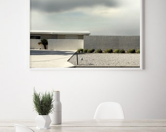 Large Photography Mid Century Architectural Landscape Modern Home with Topiary