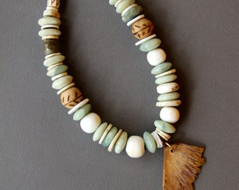 Turtle Bone Necklace w African Jade and Ostrich Shell Rare Wing Shaped Turtle Bone Shard Ethnic Bohemian Jewelry