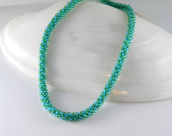 Blue and Green Kumihimo Necklace