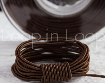 Dark Brown SILK cord, Wrapped Silk Satin Cord rope 1.5 mm thick, organic natural hand spun silk, polyester core, for Jewelry (3 feet)