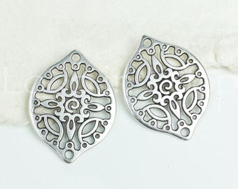 Filigree Connector, Drop, Antique Silver w/ 2 Holes bracelet bead, oval Metal Casting, European zamac 29x22mm - 1 pc