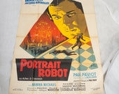 "Huge graphic French film poster, original vintage piece , 1960s. ""Portrait Robot""movie collectable wall art picture retro"