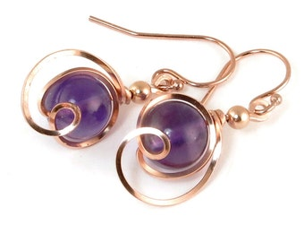Purple Amethyst Pink Gold Small Drop Earrings, Amethyst Gemstone Rose Gold Wire Wrapped Earrings Rose Pink Gold Jewelry Gift For Her